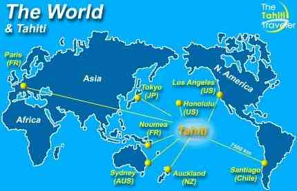 How far is Tahiti from Los Angeles?