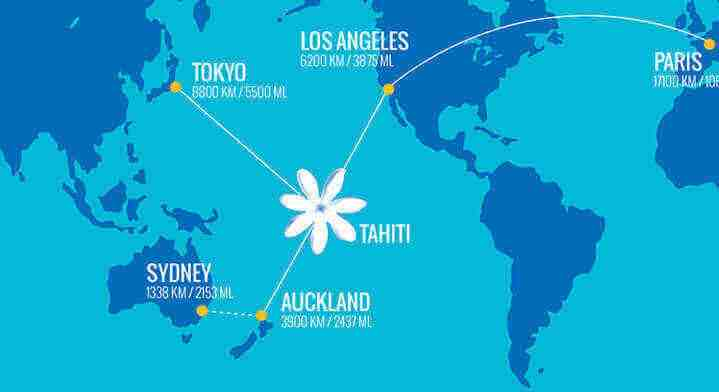 Where is Tahiti from the United States?